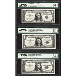 Lot of (3) Consecutive 1957 $1 Silver Certificate Notes PMG Choice Uncirculated
