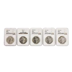Lot of (5) Assorted $1 Morgan Silver Dollar Coins NGC MS63