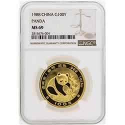 1988 China 100 Yuan Panda Gold Coin NGC MS69