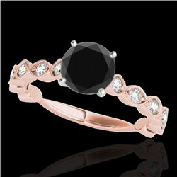 1.5 CTW Certified VS Black Diamond Solitaire Ring 10K Rose Gold - REF-64W2F - 34884