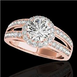1.6 CTW H-SI/I Certified Diamond Solitaire Halo Ring 10K Rose Gold - REF-180X2T - 34248