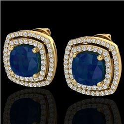 4.95 CTW Sapphire & Micro Pave VS/SI Diamond Halo Earrings 18K Yellow Gold - REF-125H5A - 20172