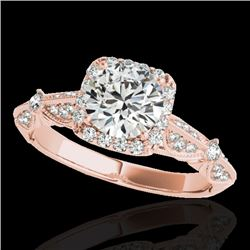 1.36 CTW H-SI/I Certified Diamond Solitaire Halo Ring 10K Rose Gold - REF-218H2A - 33752