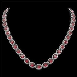 49.46 CTW Tourmaline & Diamond Halo Necklace 10K White Gold - REF-763F6N - 40571