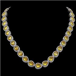 36.8 CTW Fancy Citrine & Diamond Halo Necklace 10K White Gold - REF-604W2F - 41228