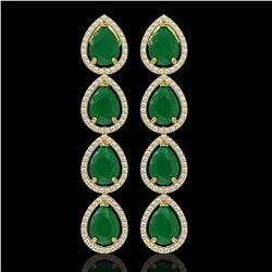 16.01 CTW Emerald & Diamond Halo Earrings 10K Yellow Gold - REF-212N8Y - 41284