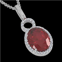 4 CTW Garnet & Micro Pave Solitaire Halo VS/SI Diamond Necklace 14K White Gold - REF-45H3A - 22761
