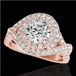 1.75 CTW H-SI/I Certified Diamond Solitaire Halo Ring 10K Rose Gold - REF-209W3F - 33865