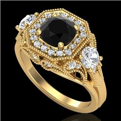 2.11 CTW Fancy Black Diamond Solitaire Art Deco 3 Stone Ring 18K Yellow Gold - REF-180M2H - 38299