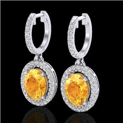 3.50 CTW Citrine & Micro Pave VS/SI Diamond Earrings Halo 18K White Gold - REF-94H5A - 20320