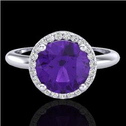 2 CTW Amethyst & Micro Pave VS/SI Diamond Ring Halo 18K White Gold - REF-58M4H - 23203