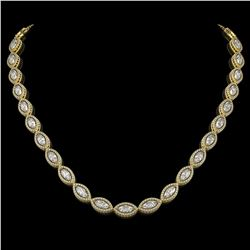 24.42 CTW Marquise Diamond Designer Necklace 18K Yellow Gold - REF-4479T3M - 42652