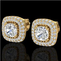 2.16 CTW Micro Pave VS/SI Diamond Earrings Solitaire Double Halo 18K Yellow Gold - REF-250M2H - 2034
