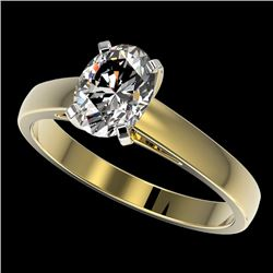 1.25 CTW Certified VS/SI Quality Oval Diamond Solitaire Ring 10K Yellow Gold - REF-372K3W - 33012