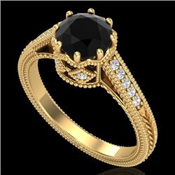 1.25 CTW Fancy Black Diamond Solitaire Engagement Art Deco Ring 18K Yellow Gold - REF-100H2A - 37522