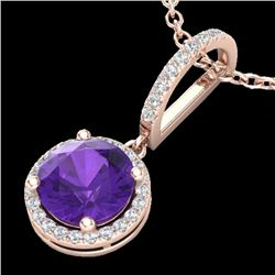 2 CTW Amethyst & Micro Pave VS/SI Diamond Necklace Designer Halo 14K Rose Gold - REF-44A8X - 23190