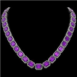76.69 CTW Amethyst & Diamond Halo Necklace 10K White Gold - REF-711X3T - 41513