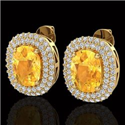 6 CTW Citrine & Micro Pave VS/SI Diamond Halo Earrings 14K Yellow Gold - REF-118X2T - 20119