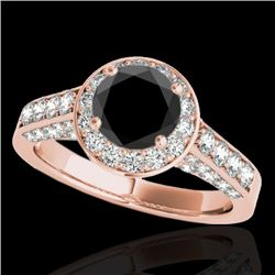 1.8 CTW Certified VS Black Diamond Solitaire Halo Ring 10K Rose Gold - REF-97A3X - 34046