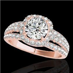2 CTW H-SI/I Certified Diamond Solitaire Halo Ring 10K Rose Gold - REF-180K2W - 33999
