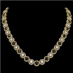 32.10 CTW Black & White Diamond Designer Necklace 18K Yellow Gold - REF-3276T2M - 42607
