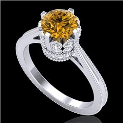 1.5 CTW Intense Fancy Yellow Diamond Engagement Art Deco Ring 18K White Gold - REF-209K3W - 37350