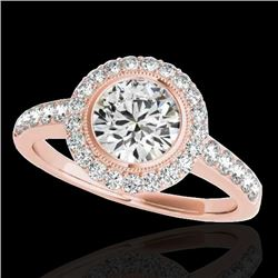 1.5 CTW H-SI/I Certified Diamond Solitaire Halo Ring 10K Rose Gold - REF-180A2X - 34442