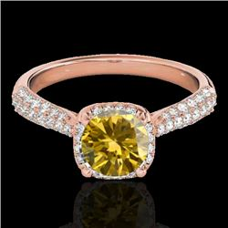 1.5 CTW Certified Si/I Fancy Intense Yellow Diamond Solitaire Halo Ring 10K Rose Gold - REF-177A6X -
