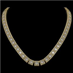 36.30 CTW Princess Diamond Designer Necklace 18K Yellow Gold - REF-6619T3M - 42634