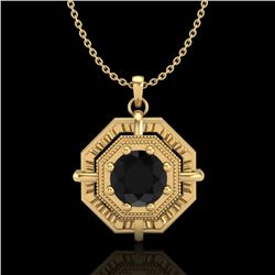 0.75 CTW Fancy Black Diamond Solitaire Art Deco Stud Necklace 18K Yellow Gold - REF-80W2F - 37459