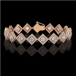 11.7 CTW Princess Cut Diamond Designer Bracelet 18K Rose Gold - REF-2148F4N - 42798