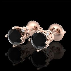 1.26 CTW Fancy Black Diamond Solitaire Art Deco Stud Earrings 18K Rose Gold - REF-67A3X - 37787