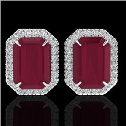 10.40 CTW Ruby And Micro Pave VS/SI Diamond Halo Earrings 18K White Gold - REF-136A4X - 21231