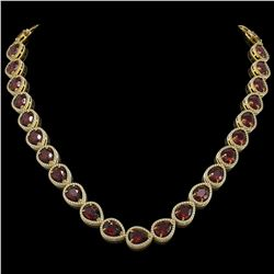36.8 CTW Garnet & Diamond Halo Necklace 10K Yellow Gold - REF-592Y9K - 41233