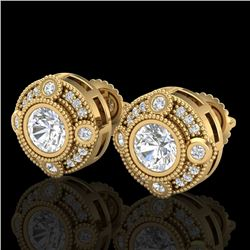 1.5 CTW VS/SI Diamond Solitaire Art Deco Stud Earrings 18K Yellow Gold - REF-263X6T - 36982
