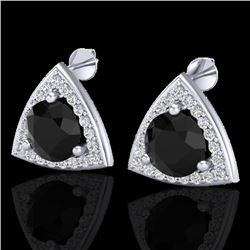3.50 CTW Micro Pave Halo Black VS/SI Diamond Stud Earrings 18K White Gold - REF-110N2Y - 20183