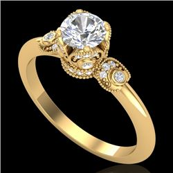 1 CTW VS/SI Diamond Solitaire Art Deco Ring 18K Yellow Gold - REF-157H5A - 36853
