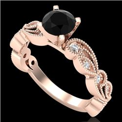 1.01 CTW Fancy Black Diamond Solitaire Engagement Art Deco Ring 18K Rose Gold - REF-87A3X - 38270