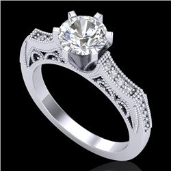 1.25 CTW VS/SI Diamond Solitaire Art Deco Ring 18K White Gold - REF-400F2N - 37073