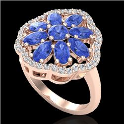3 CTW Tanzanite & VS/SI Diamond Cluster Designer Halo Ring 10K Rose Gold - REF-67A5X - 20788