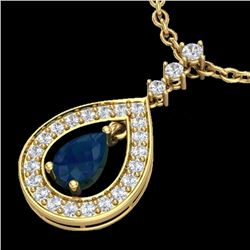 1.15 CTW Sapphire & Micro Pave VS/SI Diamond Necklace Designer 14K Yellow Gold - REF-60X9T - 23171