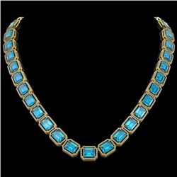 79.01 CTW Swiss Topaz & Diamond Halo Necklace 10K Yellow Gold - REF-739W3F - 41509