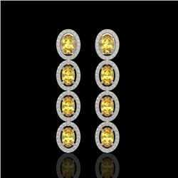 5.4 CTW Fancy Citrine & Diamond Halo Earrings 10K White Gold - REF-102H2A - 40544