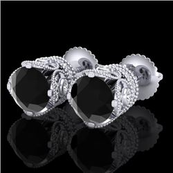 3 CTW Fancy Black Diamond Solitaire Art Deco Stud Earrings 18K White Gold - REF-149H3A - 37415