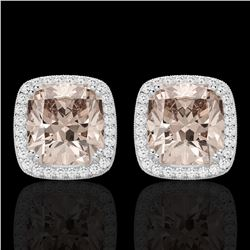 6 CTW Morganite & Micro Pave VS/SI Diamond Halo Earrings 18K White Gold - REF-117N3Y - 22806