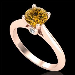 1.08 CTW Intense Fancy Yellow Diamond Engagement Art Deco Ring 18K Rose Gold - REF-236A4X - 38205