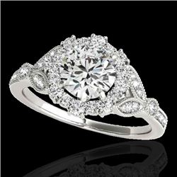 1.5 CTW H-SI/I Certified Diamond Solitaire Halo Ring 10K White Gold - REF-172W8F - 33760