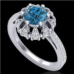 1.65 CTW Fancy Intense Blue Diamond Engagement Art Deco Ring 18K White Gold - REF-230H9A - 37726