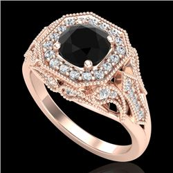 1.75 CTW Fancy Black Diamond Solitaire Engagement Art Deco Ring 18K Rose Gold - REF-136Y4K - 38277
