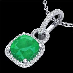 3 CTW Emerald & Micro VS/SI Diamond Necklace 18K White Gold - REF-70T9M - 22981